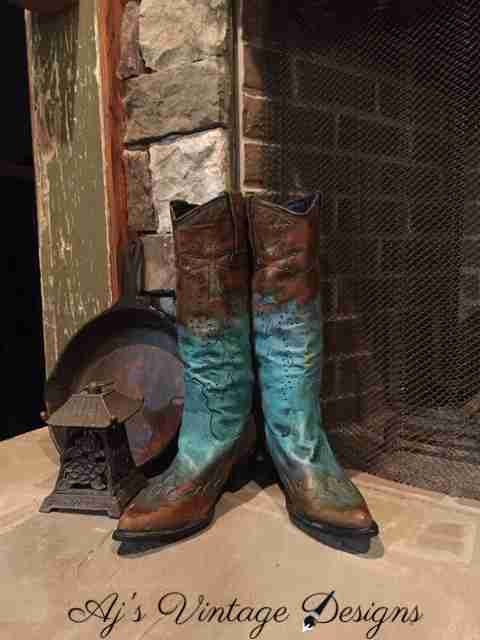 Custom Cowboy Boots with Patina and Paint