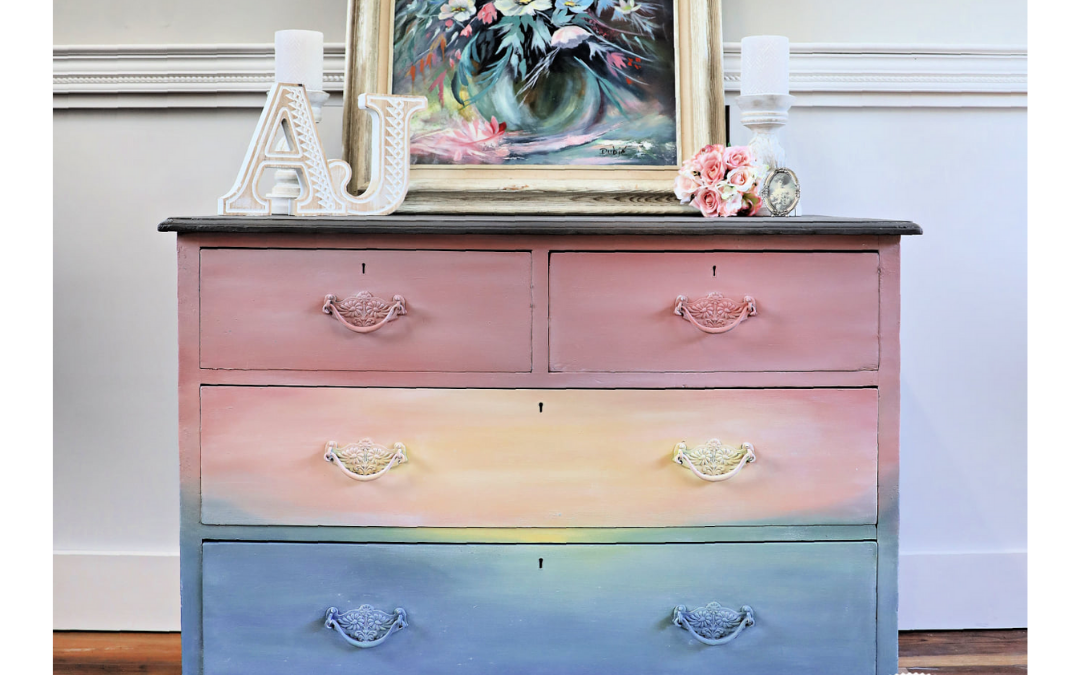 Painted Dresser Idea for Beginners: Blended Boho Sunrise Look