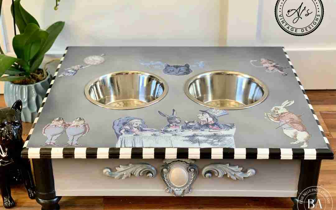 DIY Dog Feeding Station Tutorial using Dixie Belle Paint & the NEW Transfers