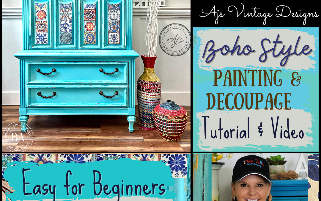 """How To Paint Furniture """"Boho Style"""", Chippy Paint & Decoupage for Beginners – Tutorial & Video"""